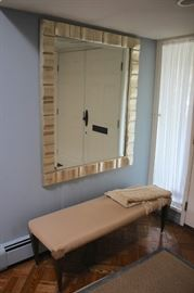 Over-Sized Framed Rectangular Mirror and Upholstered Bench with Throw