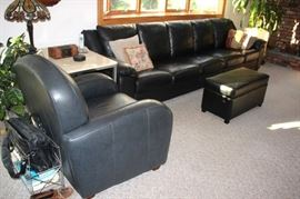 Sofa and Easy Chair with Ottoman, Side Table, Lamp and Accent Pillows