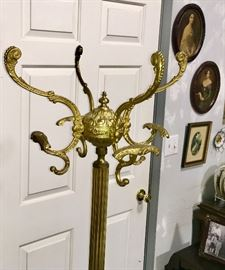 ANTIQUE BRASS HAT/COAT RACK.