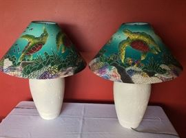 """Sea Turtle Accented Lamps. 27"""" H."""