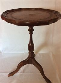 """Tea Table, 20"""" H. Leather Accented Top, 13"""" diameter."""