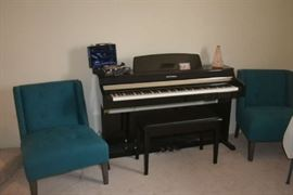 Occasional Chairs, Digital Piano and bench, Clarinet