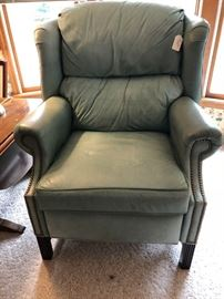 Thomasville Sage green leather recliner