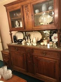 Gorgeous china cabinet with carved roses and marble top