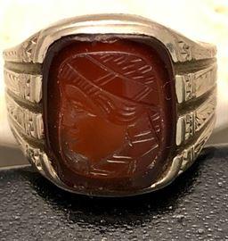 14 K White Intaglio Ring
