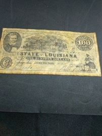 $100 bill 1863 state of Louisiana