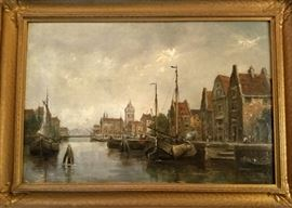 Dutch (?) painting on pressed board, early to mid 20th century, signed Vander_____.