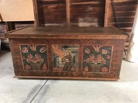 Late 1700s/early 1800s hand painted wooden chest from Bavaria, Germany. This piece was rescued from a small chapel fire.