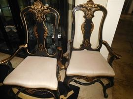 Pair of gilded ebony parlor chairs