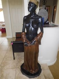 """""""Defiance"""" signed work of David Parvin 67"""" tall nude slave bronze sculpture on a marble base.... Appraised value of $28,000 in  1998"""