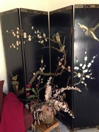Chinese screen with jade and mother of pearl