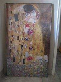 "Large Klimt framed poster art, 54"" tall x 32"" wide; has ZGallerie sticker on back; excellent condition.  Also have framed 'Music' print by Klimt (not pictured)."