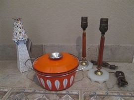 Numbered candleholder by Gaudi/Art Bona; MCM Cathrineholm /Norway covered enamel casserole; MCM bakelite lamp bases (also have shades, not pictured), all excellent condition.