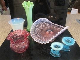 Mom's colored glass: Opalescent blues, pinks, green & white; includes Fenton Large Pink Opalescent Banana Boat.