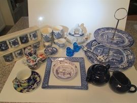 Spode tiered porcelain tray; english blue & white egg cups; gaudy dutch condiment server; blue  white porcelain napkin rings; Bluebird figurines; various B&W items; no chips.