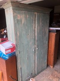 Green primitive cabinet