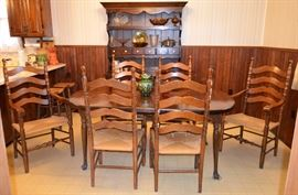 set of 6 rush bottom chairs; pine dining room table