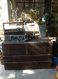 Antique Trunk, Vintage Christmas Lights, Welcome Sign