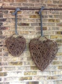 Primitive Heart Wall Decorations                                                    Twig Wall Hangings