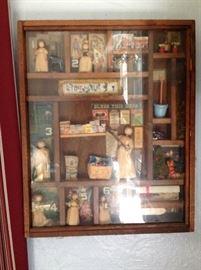 Shadow Box with Miniatures, Corn Husk Dolls