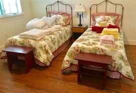 Custom bedding and Pottery Barn benches