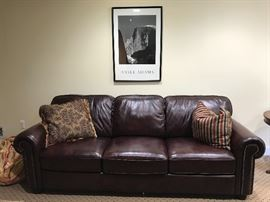 One of pair of QUALITY leather sofas
