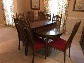 #1Table w/2 leaves & 8 chairs  57-93x38x29 $275.00