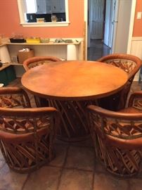 Classic Mexican pigskin equipale set with 4 chairs