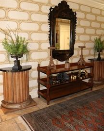 Antique Column Cabinets, T&A Shelving, Chinoiserie Mirror, Wall Brackets, Candlesticks, Bronze Statue