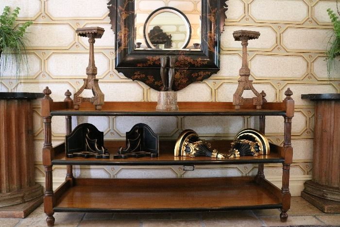 Carved Wood Stands, Theodore Alexander Bronze, English Etegere/Trolley, Gilt Wood Shelf Sconces