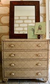 Pair of Distressed Dressers, Pair of Bark Frame Mirrors, Four Frog Wall Art