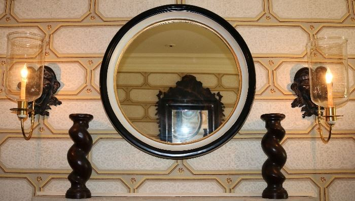 Sconces, Candle Pillars, Wood Frame Mirror