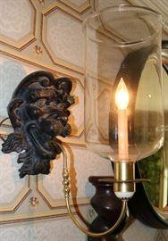 Metal Lion Head Light Sconces