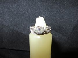 WHITE GOLD 14K 0.35CT MARQUISE ENGAGEMENT RING J COLOR, VS2 CLARITY Accented by 26, (13 each side) Round full cut Diamonds