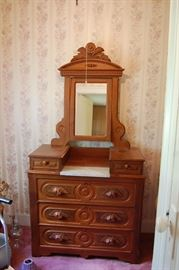 Another Very Nice Carved Walnut Eastlake Victorian Dresser with Marble Top