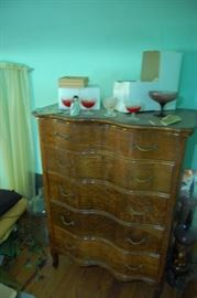 Matching Very nice Antique Tiger Oak Serpentine Front Chest of Drawers