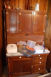 Antique Oak Hoosier Kitchen Cabinet with Zinc Top, Excellent Condition