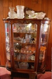 Extremely Nice Antique Walnut Curved Glass Curio Cabinet, Paw Foot