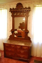 Antique Victorian Eastlake Carved Walnut Dresser with Mirror and Marble Top, very Nice