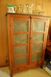Very Nice Antique Walnut Pie Safe with Punched Tin Doors