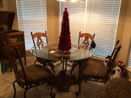 Round Glass top table with 4 matching chairs