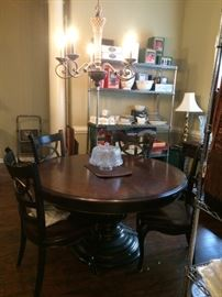 diningroom table with leaves and 6 chairs    Winterberry (lots of new items still in box)
