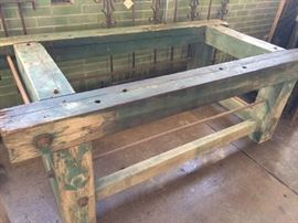 """Bolter saw base table.  Aged, rustic wood and metal. Very heavy, solid piece. Can be repurposed into a commercial or residential table, or on it's side could make a counter. 6' W x 3'-4.5""""D x 2'-2""""H  $1175 OBO"""