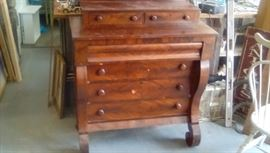 1820's Empire mahogany chest with book matched burl front and two glove drawers