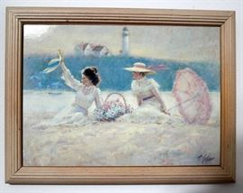 Framed art, ladies on beach