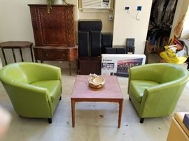 Pair of cool lime green midcentury chairs