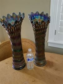 Huge pair of matching Carnival Glass Funeral vases-very rare!!  They are both 19 1/2 in tall ! (about as tall as they get.) The base color is blue. Call for inquiries