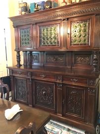 ENORMOUS 1880'S ANTIQUE JACOBEAN SIDEBOARD WITH RARE BOTTLE BOTTOM/ BULLEYE GLASS DOORS