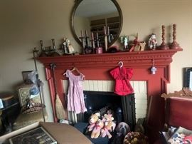 VINTAGE CLOTHES, ANTIQUE MIRROR, ANTIQUE LAMP, BEARS, EASTLAKE CHAIRS, ST. BERNARD SIGN,BOXES OFN PUZZLES, BASKETS