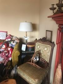 ANTIQUE EASTLAKE CHAIR, MARBLE TOP TABLE, BASKETS, VINTAGE COUCH, RAGGEDY ANNS AND ANDYS